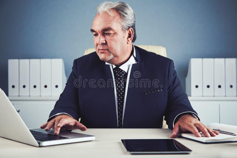 Homme d'affaires mûr énergique concentré travaillant sur l'ordinateur portable photographie stock