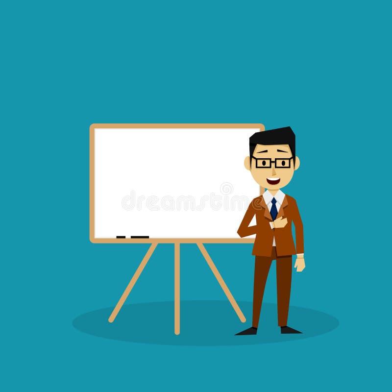 Homme d'affaires Making une présentation avec un conseil blanc illustration de vecteur