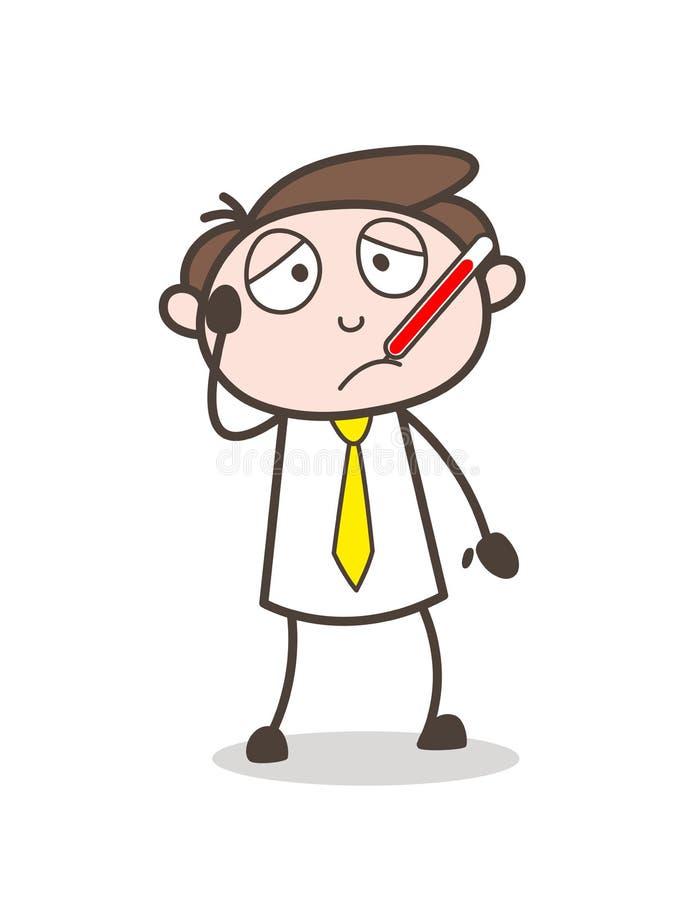 Homme d'affaires malade de bande dessinée avec l'illustration de vecteur de thermomètre de fièvre illustration de vecteur