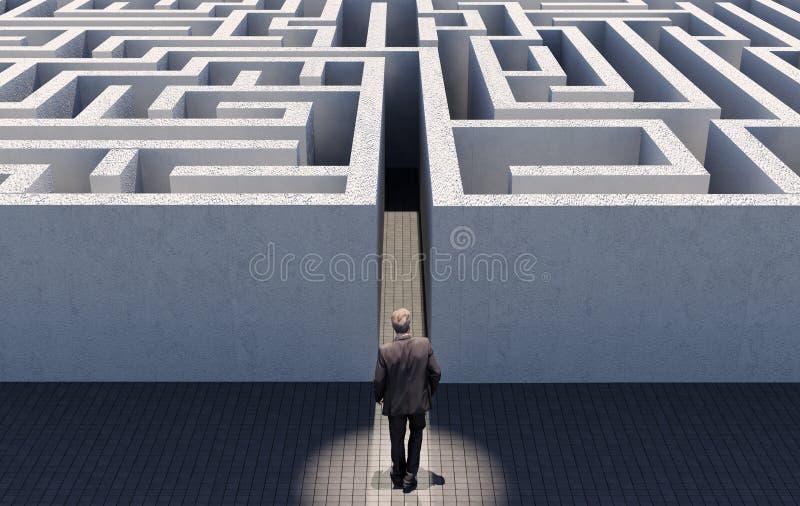 Homme d'affaires marchant pour contester un labyrinthe sans fin, image conceptuelle représentant la stratégie commerciale photo libre de droits