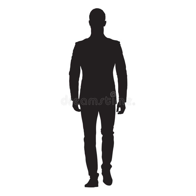 Homme d'affaires marchant vue de face en avant et illustration de vecteur