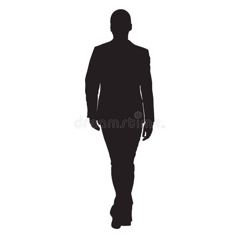 Homme d'affaires marchant vue de face en avant et illustration libre de droits