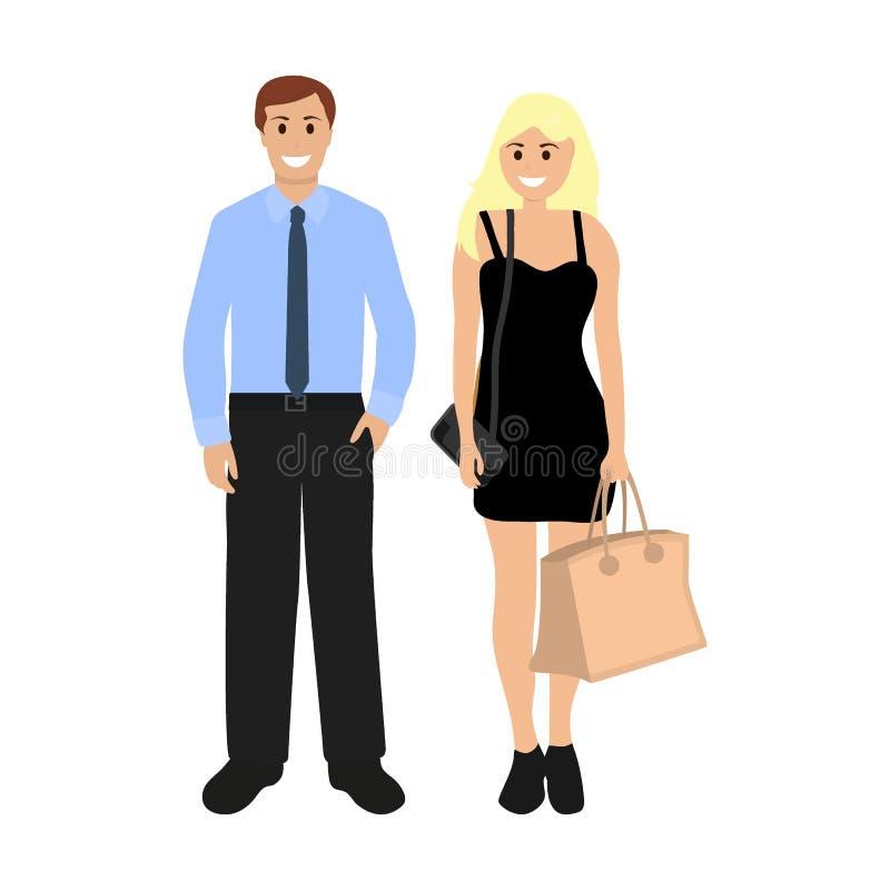 Homme d'affaires masculin et femme sexy blonde illustration stock