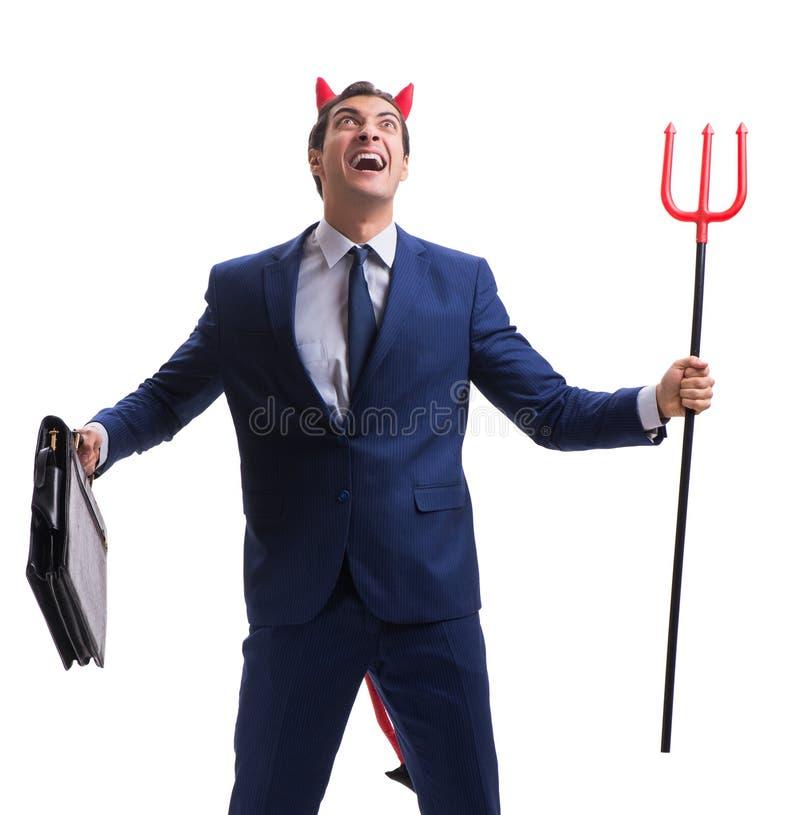 Homme d'affaires mauvais de diable avec la fourche d'isolement sur le backgrou blanc images stock