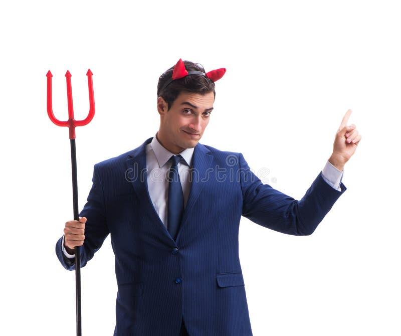 Homme d'affaires mauvais de diable avec la fourche d'isolement sur le backgrou blanc images libres de droits