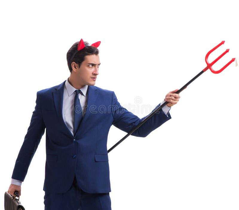 Homme d'affaires mauvais de diable avec la fourche d'isolement sur le backgrou blanc photos stock