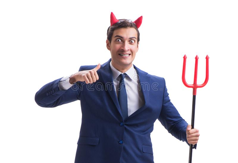 Homme d'affaires mauvais de diable avec la fourche d'isolement sur le backgrou blanc image libre de droits