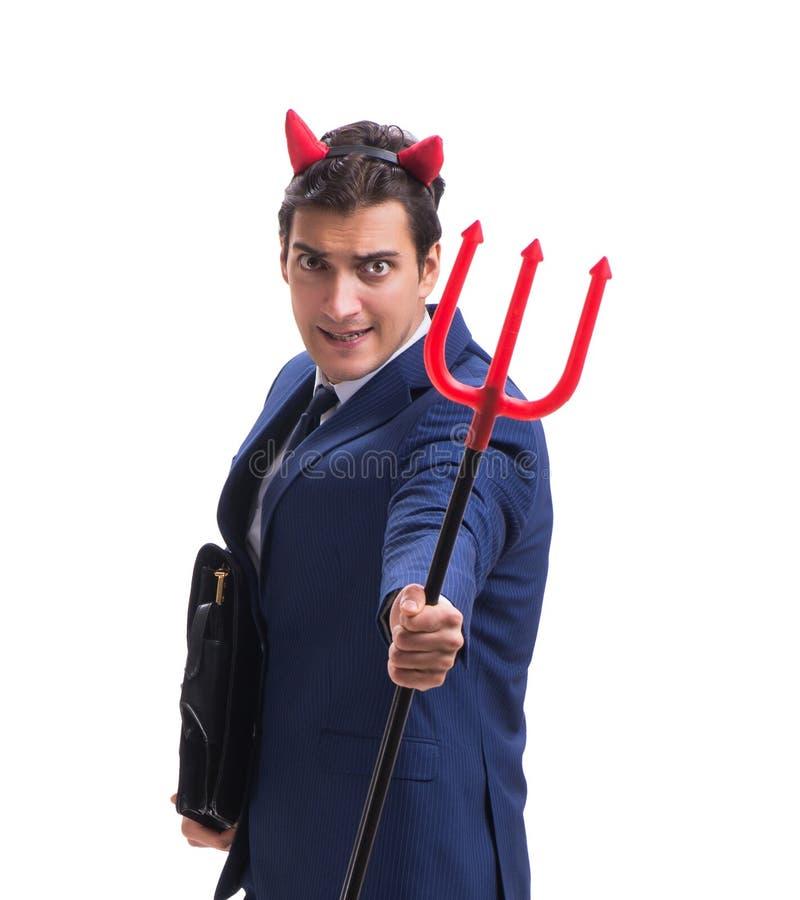 Homme d'affaires mauvais de diable avec la fourche d'isolement sur le backgrou blanc image stock
