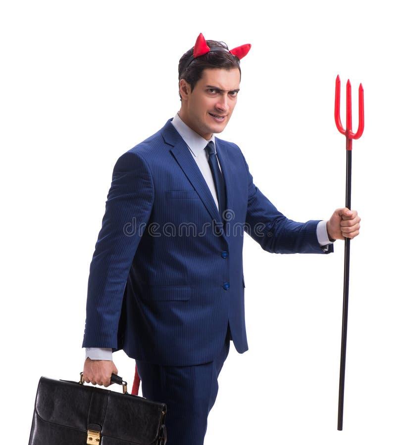 Homme d'affaires mauvais de diable avec la fourche d'isolement sur le backgrou blanc photos libres de droits