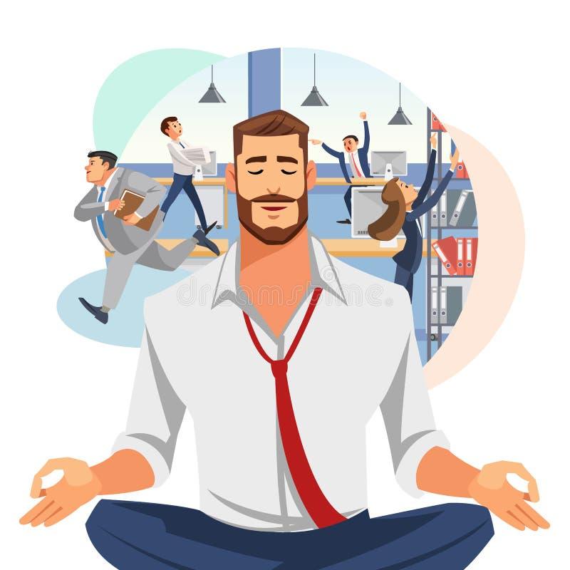 Homme d'affaires Meditating dans le vecteur de bande dessinée de bureau illustration de vecteur