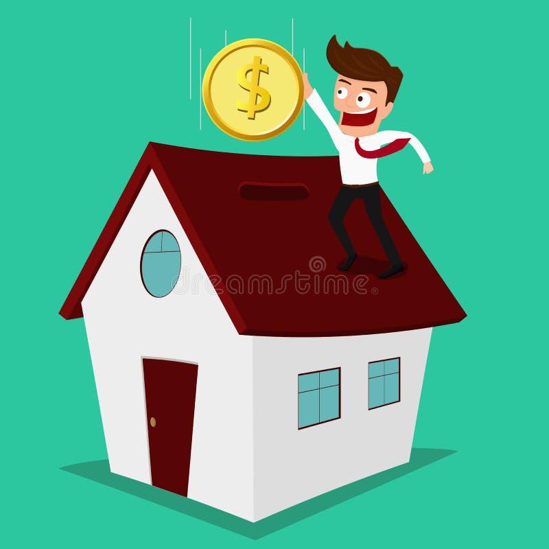 Homme d'affaires mettant la pièce de monnaie à l'intérieur de la maison, investissement immobilier illustration libre de droits