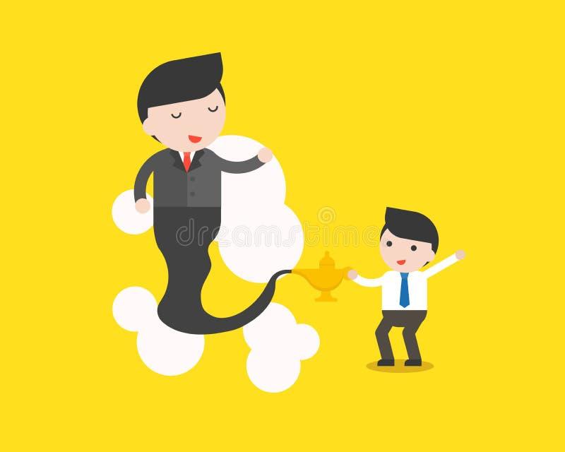 Homme d'affaires mignon et homme d'affaires géant de lampe Arabe, busine illustration stock