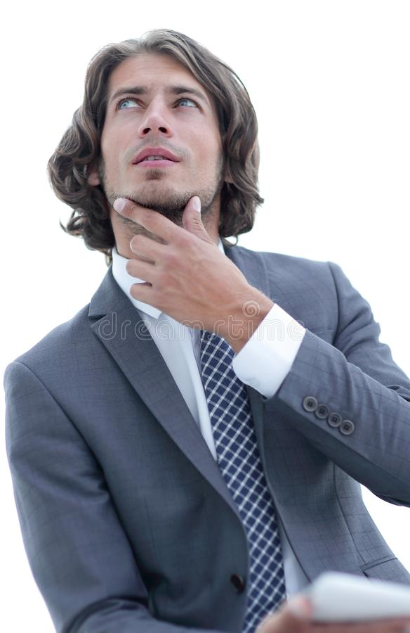 Homme d'affaires moderne avec le comprim? regardant l'espace de copie photos libres de droits