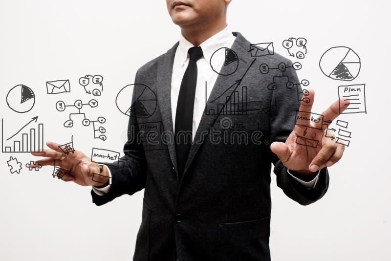 Homme d'affaires montrant la main et le doigt avec des affaires d'écriture de main images libres de droits