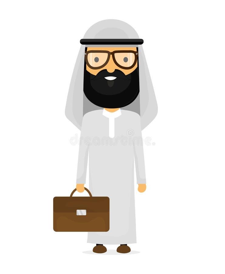 Homme d'affaires musulman Arabe avec la serviette illustration de vecteur