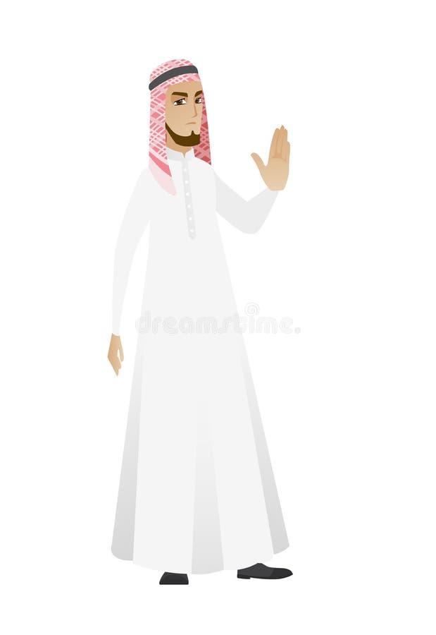Homme d'affaires musulman montrant la main de paume illustration stock