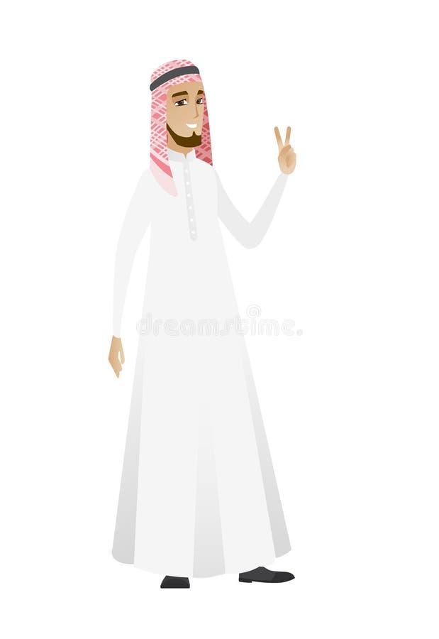 Homme d'affaires musulman montrant le geste de victoire illustration libre de droits