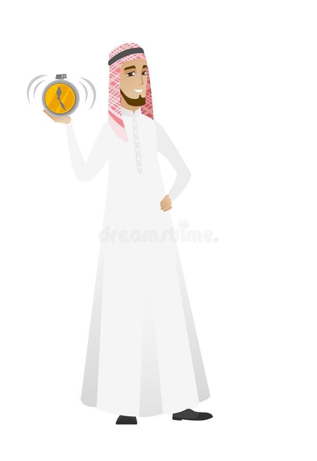 Homme d'affaires musulman tenant le réveil illustration stock