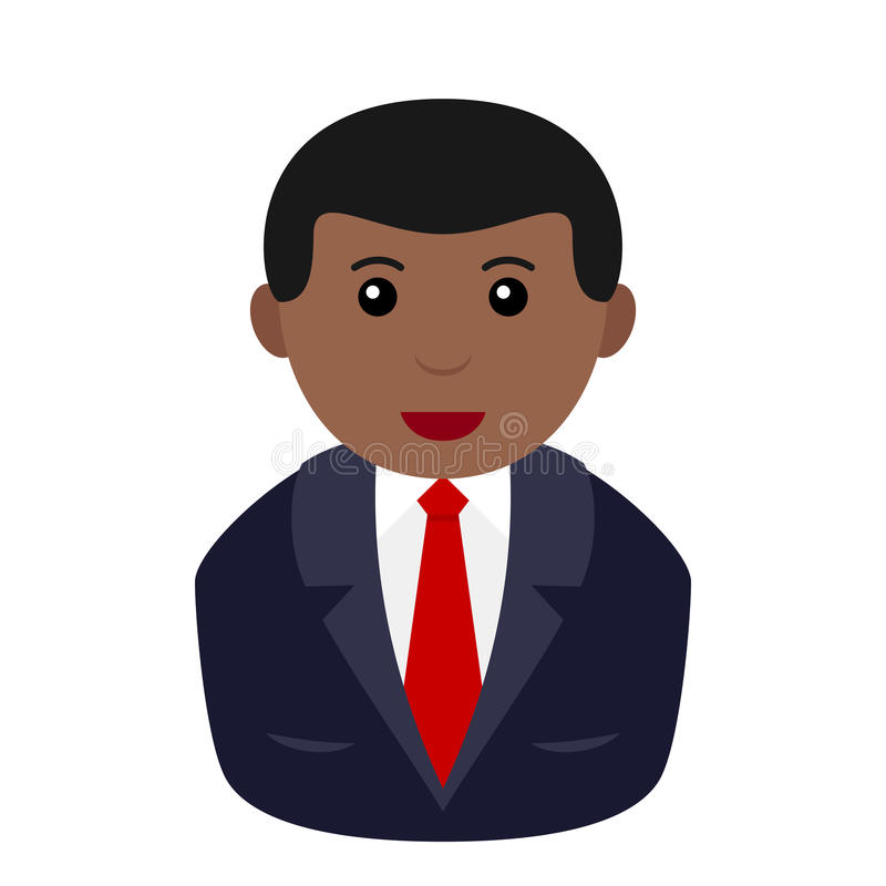 Homme d'affaires noir Avatar Flat Icon illustration stock