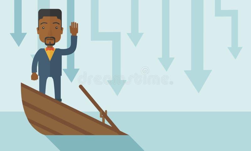 Homme d'affaires noir d'échec se tenant sur une descente illustration libre de droits