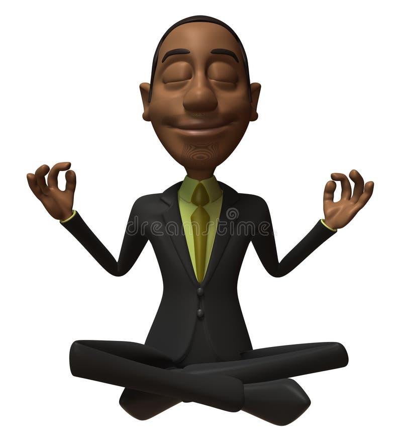 Homme d'affaires noir de zen illustration stock