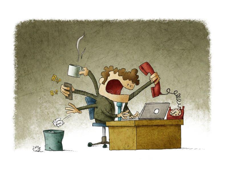 Homme d'affaires occupé illustration stock