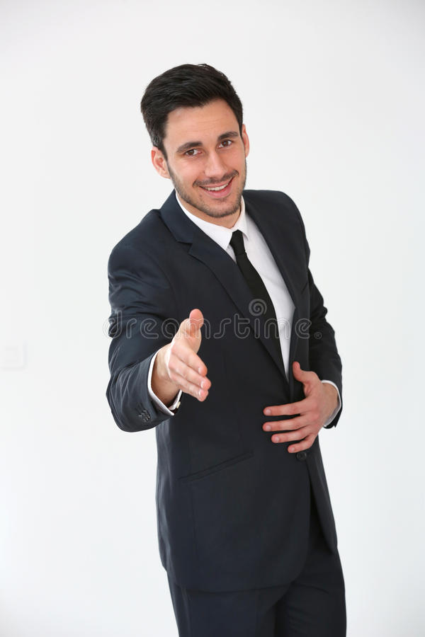 Homme d'affaires offrant une prise de contact images libres de droits