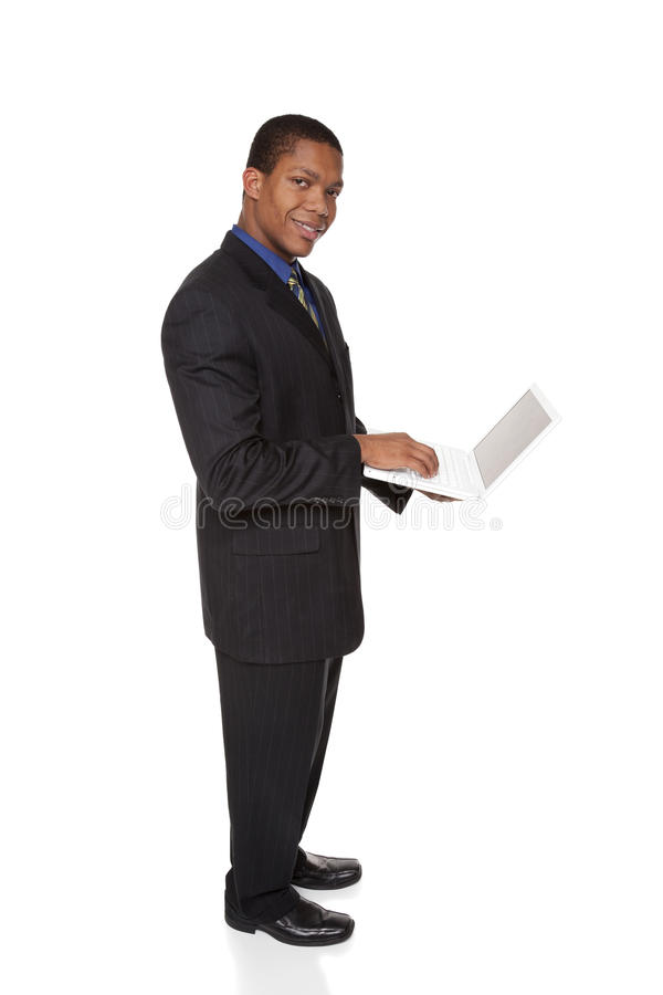 Homme d'affaires - ordinateur portatif confiant images stock
