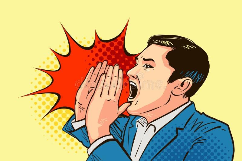 Homme d'affaires ou homme criant, dessiné dans style comique d'art de bruit le rétro Illustration de vecteur de dessin animé illustration de vecteur