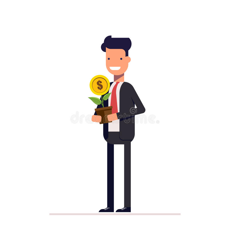 Homme d'affaires ou directeur avec l'arbre d'argent dans leurs mains Petite centrale mise en pot Caractère plat sur le fond blanc illustration de vecteur