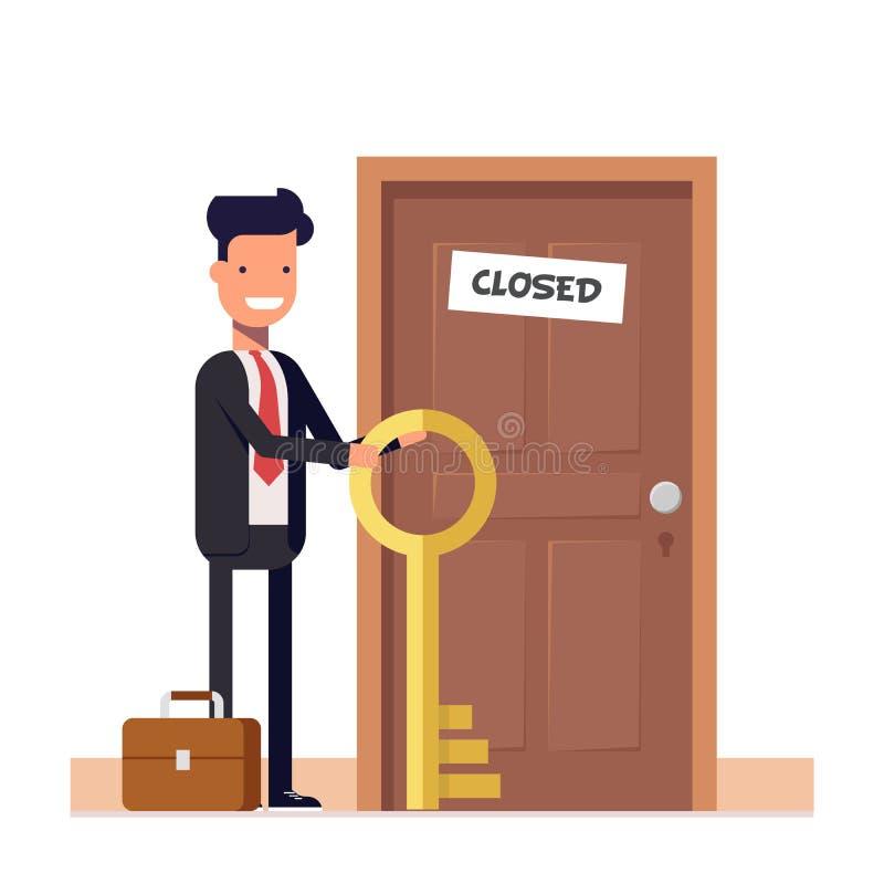 Homme d'affaires ou directeur avec plus de clés se tenant près de la porte fermée Le concept de résoudre le problème caractère pl illustration libre de droits