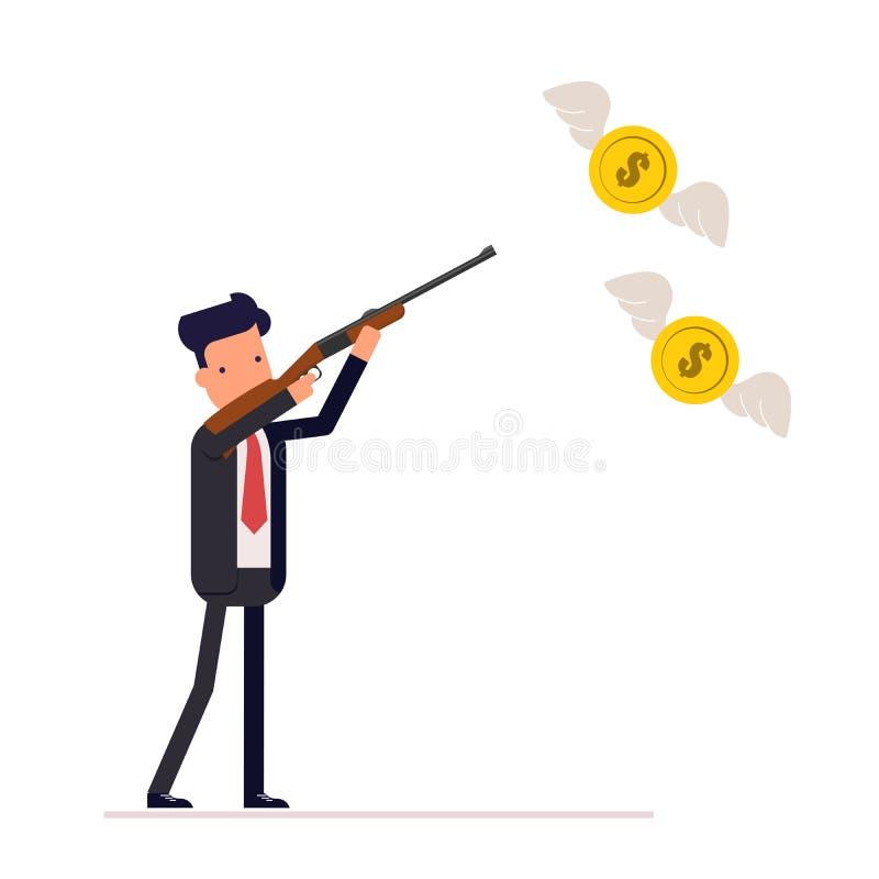 Homme d'affaires ou directeur avec une arme à feu à chasser pour des mouches sur les ailes de l'argent Les armes à feu d'utilisat illustration stock