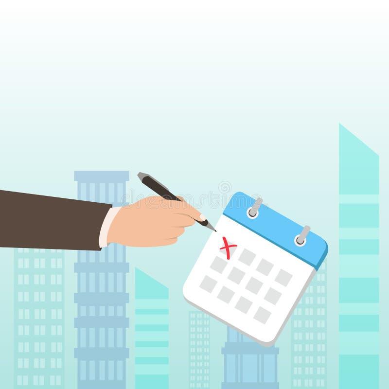 Homme d'affaires ou employé de bureau de sexe masculin blanc dans les croix formelles de costume outre d'un jour de calendrier av illustration de vecteur