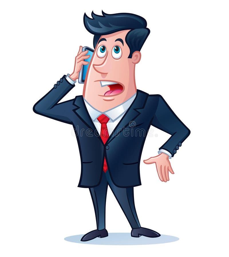 Homme d'affaires parlant à son téléphone portable illustration de vecteur