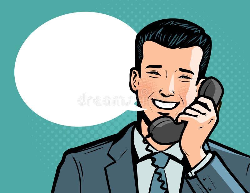 Homme d'affaires parlant au téléphone La conversation téléphonique, appellent le concept Illustration de vecteur illustration stock