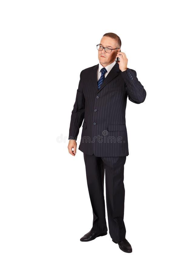 Homme d'affaires parlant du téléphone portable photographie stock libre de droits
