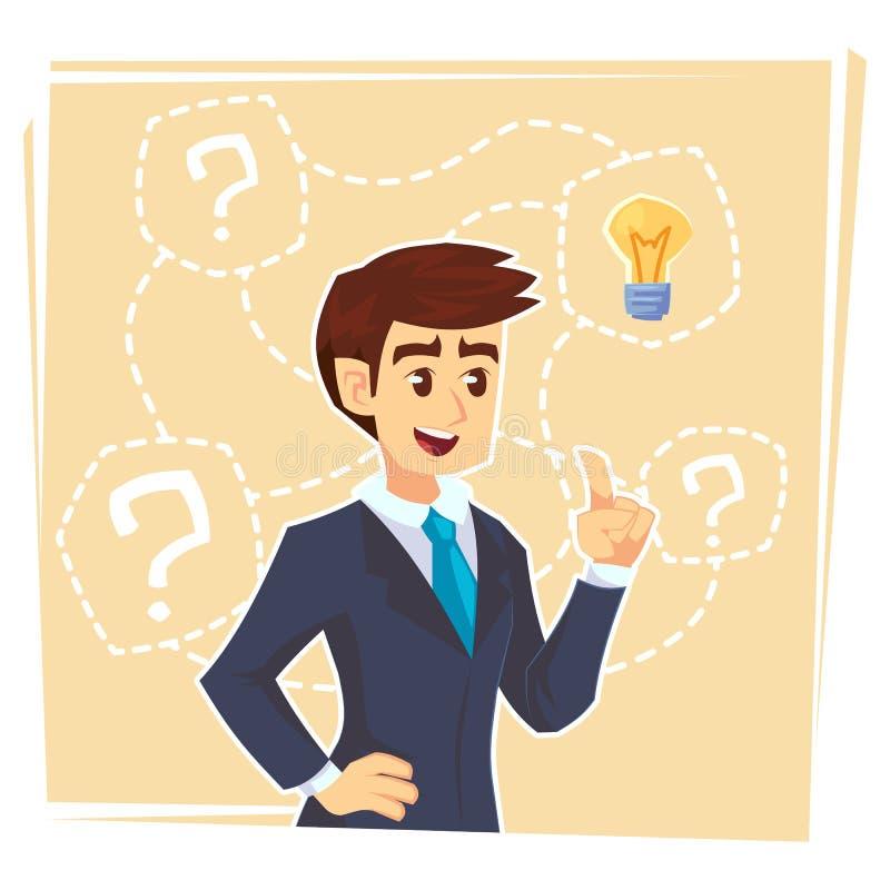 Homme d'affaires pensant à l'idée créative Homme d'affaires se tenant avec les points d'interrogation et l'ampoule d'idée au-dess illustration stock