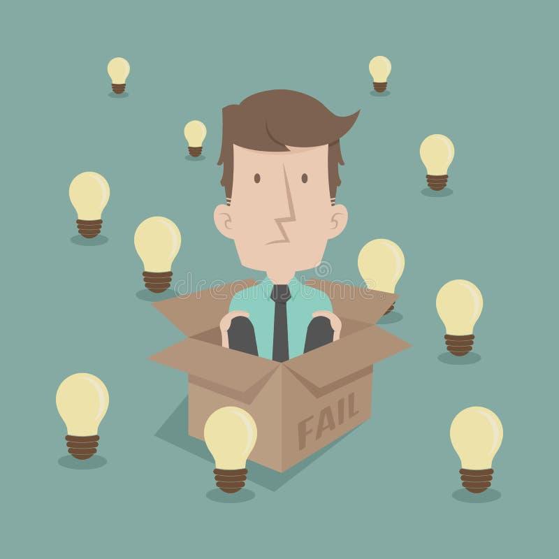 Homme d'affaires pensant à l'intérieur de la boîte illustration libre de droits