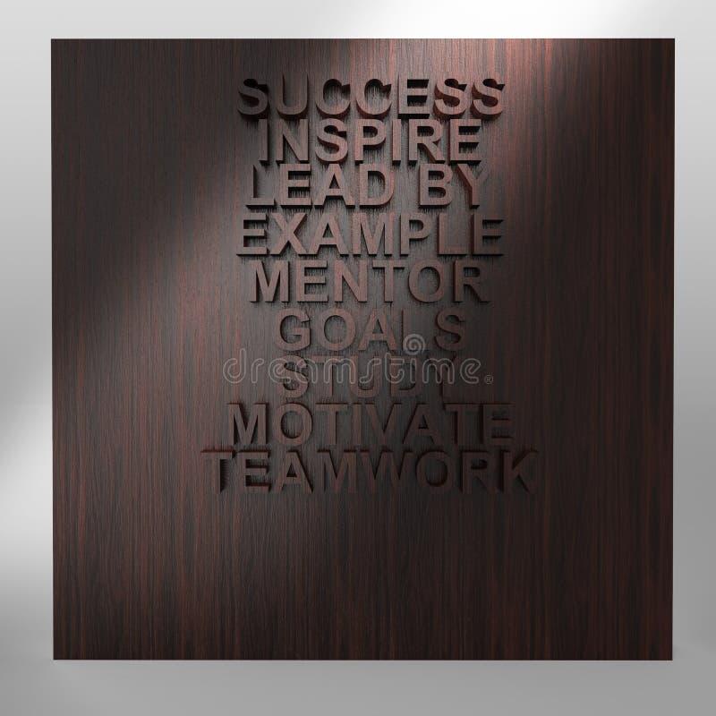 Homme d'affaires pensant au diagramme d'affaires de succès sur le mur en bois illustration libre de droits