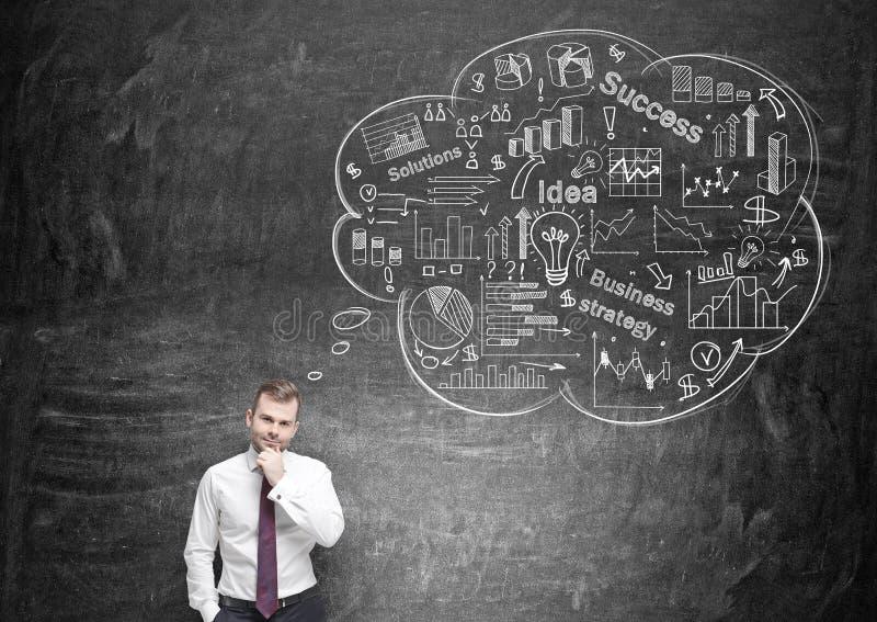 Homme d'affaires pensant au succès images stock