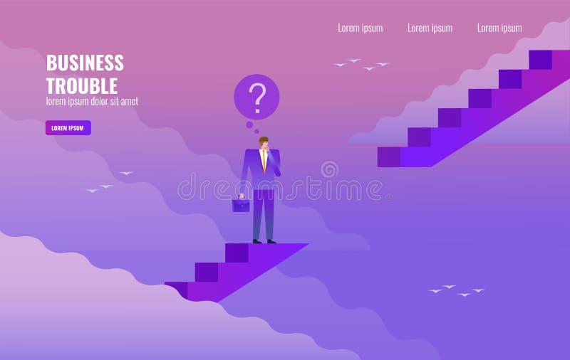 Homme d'affaires pensant sur l'espace d'escalier Concept de problème d'affaires illustration stock