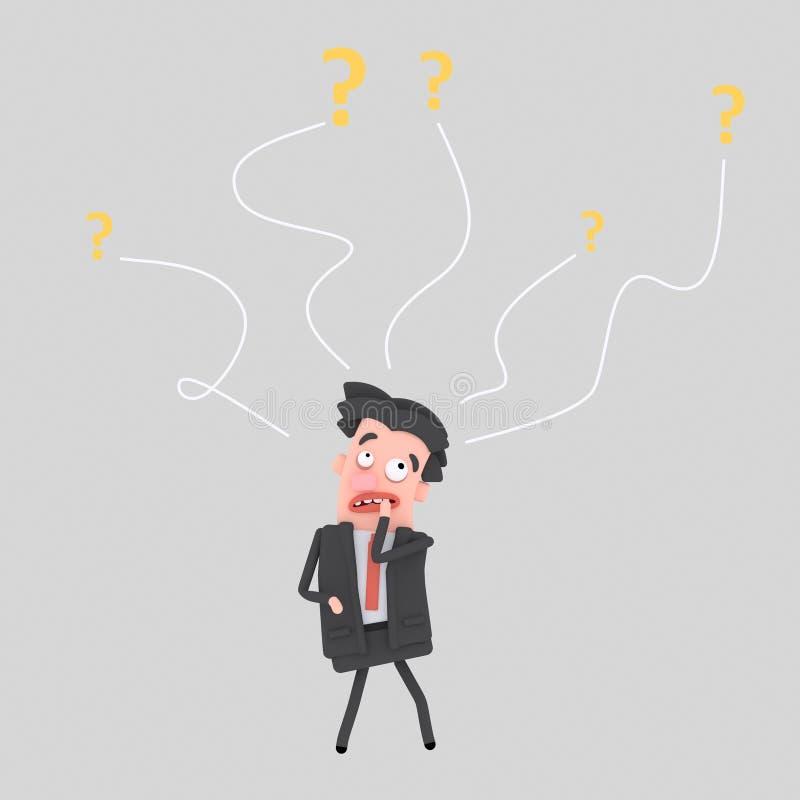 Homme d'affaires pensant tandis que quelques questions sortent de sa tête 3d illustration libre de droits