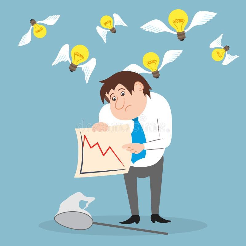 Homme d'affaires peu satisfait des opérations boursières illustration de vecteur