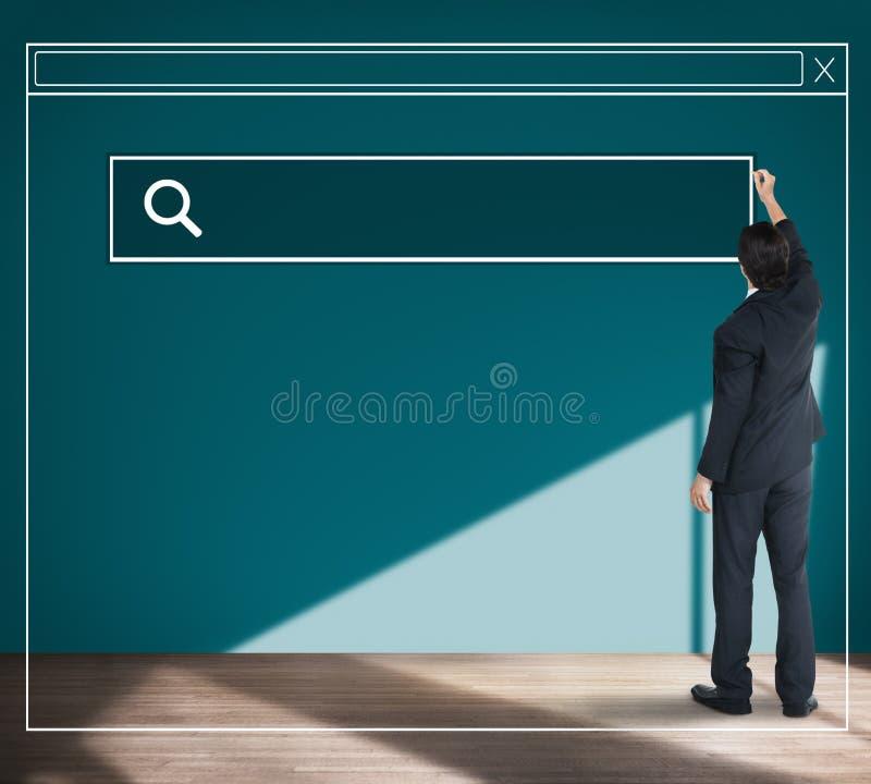 Homme d'affaires Planning Strategy Vision recherchant le concept de page Web image stock