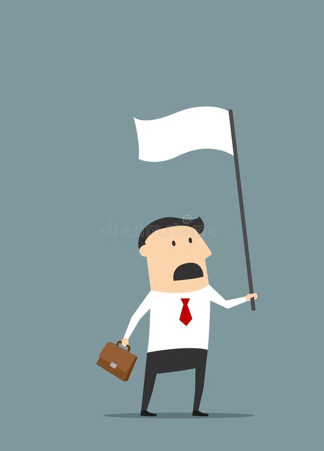 Homme d'affaires plat de bande dessinée avec le drapeau blanc illustration libre de droits
