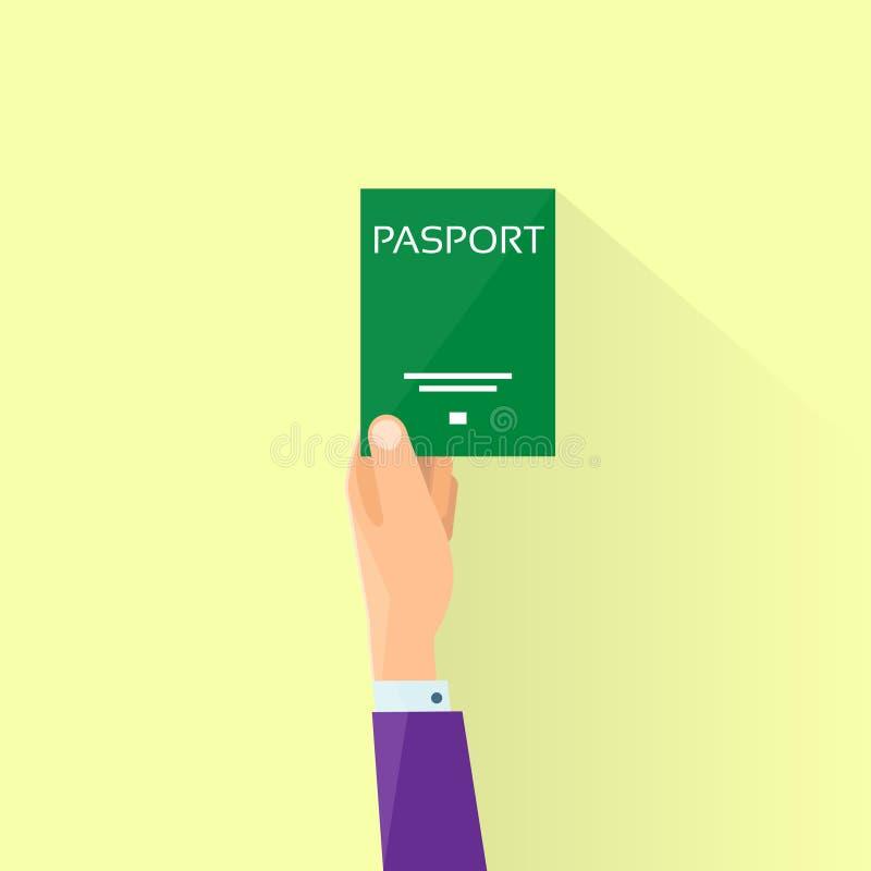Homme d'affaires plat Hand Hold Travel d'icône de passeport illustration de vecteur