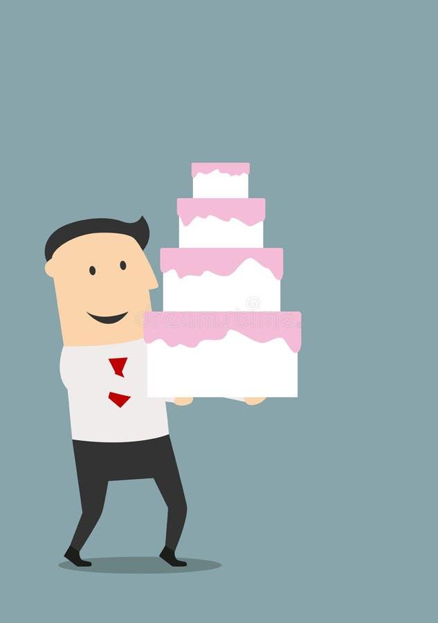 Homme d'affaires portant un gâteau d'anniversaire illustration de vecteur