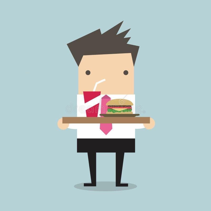 Homme d'affaires portant un plateau de nourriture illustration libre de droits