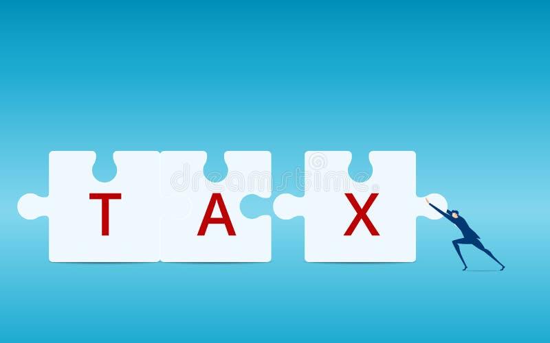 Homme d'affaires poussant des morceaux de puzzle d'impôts de cartel Concept financier d'affaires illustration stock