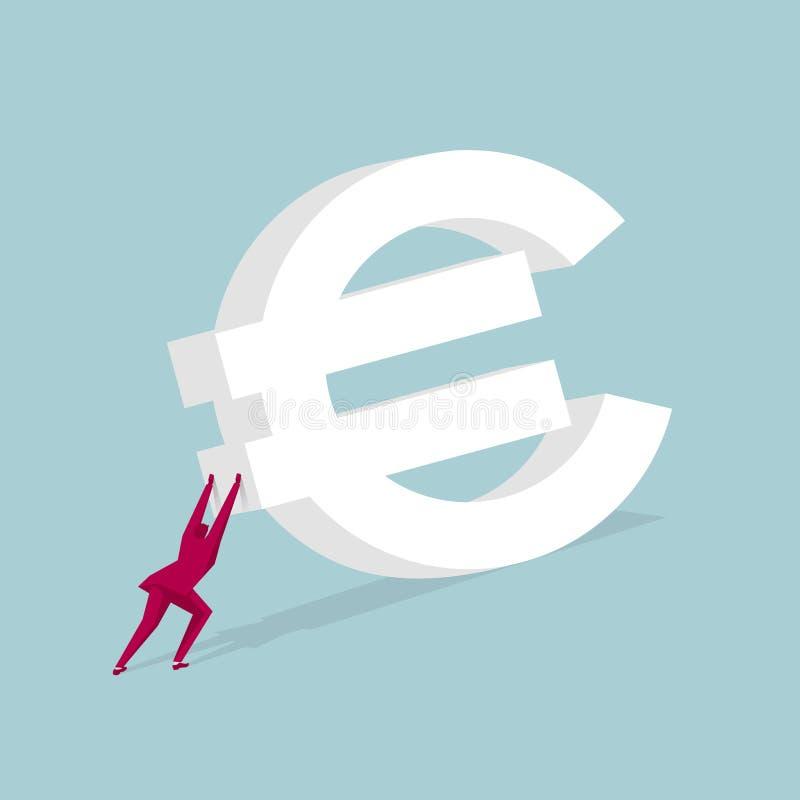 Homme d'affaires poussant l'euro symbole énorme illustration stock